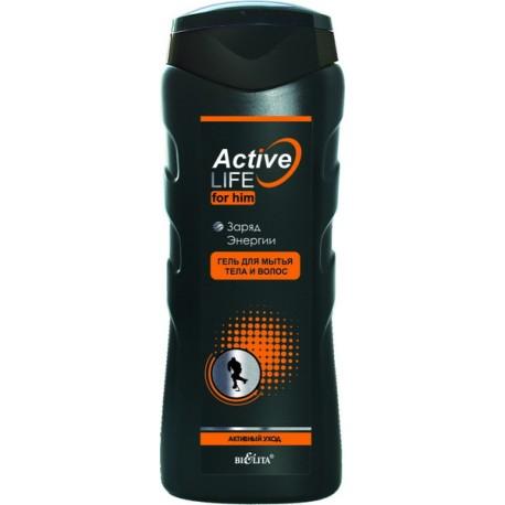Гель для мытья тела и волос Заряд энергии Active Life Белита для мужчин
